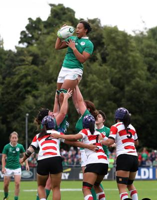 Sophie Spence claims a line-out during the 2017 World Cup clash with Japan