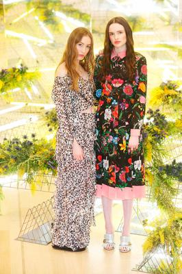 (l to r) Sophie Murphy wears Preen By Thornton Bregazzi off-shoulder top and Skirt and Maria Traynor wears Gucci dress €3,500 as they showcased the exciting new spring summer International Designer Collections at Brown Thomas. Picture: Leon Farrell / Photocall Ireland