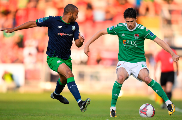 Cork City's Shane Griffin keeps possession from Shamrock Rovers' Ethan Boyle. Photo: Sportsfile