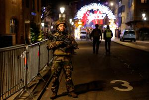 Police officers secure a street and the surrounding area after a shooting in Strasbourg, France, December 11, 2018. REUTERS/Vincent Kessler