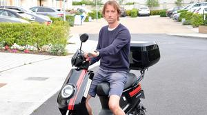 Easy rider: Adrian Weckler takes the Niu MQI+ Sport for a spin. Photo: Eve Golden