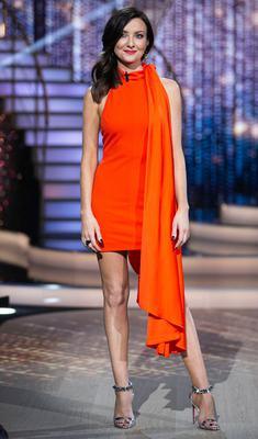 Presenter Jennifer Zamparelli pictured during the third live show of Dancing with the Stars. Picture: Kyran O'Brien Photography/kobpix