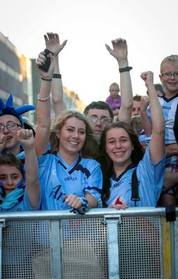 Dublin fans Emma O'Keefe and Lauren Fitzpatrick both from Tallaght in Merrion Square during arrival celebrations of the Dublin GAA team