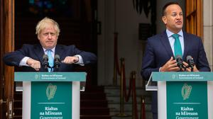 Leo Varadkar and Boris Johnson during the press conference. Photo: LORRAINE O'SULLIVAN/AFP/Getty Images