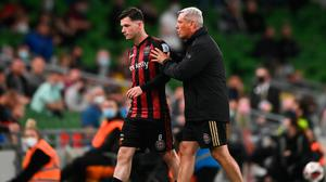 Bohemians' two-goal hero Ali Coote is embraced by manager Keith Long after being substituted in the Europa Conference League third qualifying round first leg win over PAOK at the Aviva Stadium in Dublin. Photo: Harry Murphy/Sportsfile