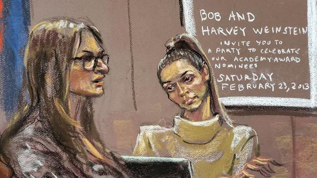 Evidence: Jessica Mann is questioned by Donna Rotunno during Harvey Weinstein's sexual assault trial at New York Criminal Court. Artist's impression: Jane Rosenberg/Reuters