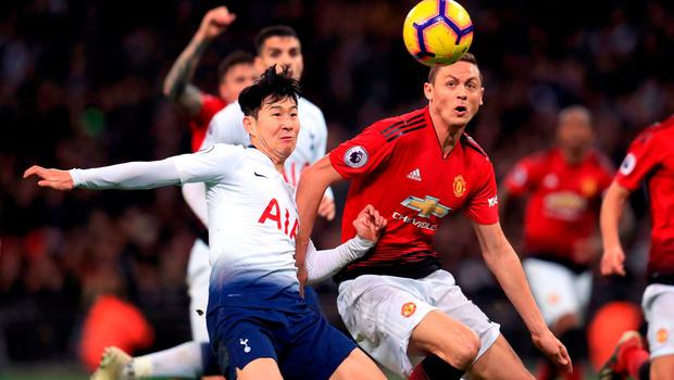 Tottenham Hotspur's Son Heung-min (left) and Manchester United's Nemanja Matic battle for the ball. Photo: Mike Egerton/PA Wire