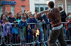 Niall Tuohy performer with Dublin Circus Project with Daniel Keenan age 7 looking on, part of Culture Night 2015 and comprises with hundreds of events across Ireland and overseas. Picture by Fergal Phillips