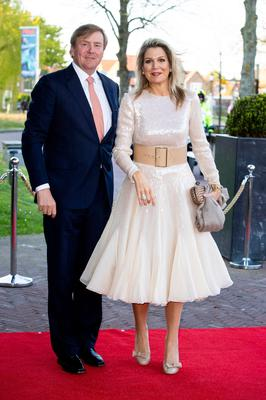 King Willem-Alexander of The Netherlands and Queen Maxima of The Netherlands arrive at Theater De Flint for the Kingsday Concert on April 15, 2019 in Amersfoort, Netherlands. (Photo by Patrick van Katwijk/Getty Images)