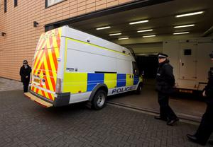 A police van believed to be carrying Nathan Matthews arrives at Bristol Magistrate's Court, Bristol, where he was due to appear charged with the murder of his stepsister Becky Watts. Steve Parsons/PA Wire