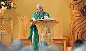 Spoke up: Fr Oliver O'Reilly gives a sermon condemning the attack on Kevin Lunney at Our Lady of Lourdes Church, Ballyconnell. Photo: Lorraine Teevan