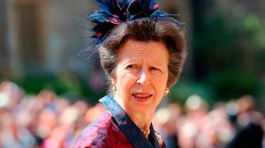The Princess Royal arrives at St George's Chapel at Windsor Castle for the wedding of Meghan Markle and Prince Harry