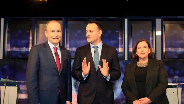 Fianna Fáil Leader Micheál Martin pictured with Taoiseach and Leader of Fine Gael Leo varadkar and Sinn Féin Leader Mary Lou McDonald on set before the start of the Prime Time Leaders Debate in RTE.:Frank McGrath