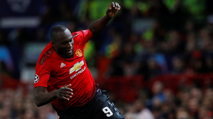 Romelu Lukaku fails to keep the ball in play during Manchester United's draw with Valencia, a moment for which he was mocked online. Photo: Reuters