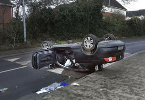 Scene of car crash at Forest Road, Swords. Photo: Tony Gavin
