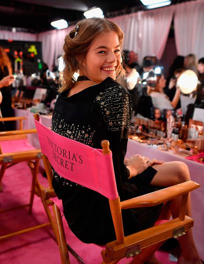 Hungarian model Barbara Palvin prepares for the 2018 Victoria's Secret Fashion Show in hair and make-up backstage on November 8, 2018 at Pier 94 in New York City