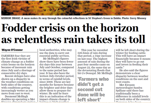 The 'Sunday Independent' highlighted the fodder crisis in our November 12 edition last year