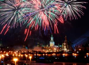 Fireworks are seen over Moscow's Kremlin complex during New Year celebrations in Moscow, on January 1, 2016. / AFP / VASILY MAXIMOVVASILY MAXIMOV/AFP/Getty Images