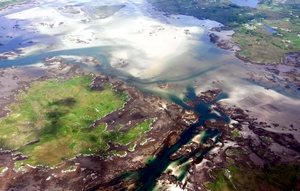The small island of Inisheane and tidal coast around Dungloe, Co. Donegal.