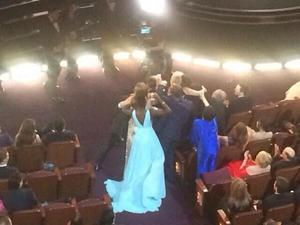 Liza Minnelli  (in dark blue) trying so hard to get into the selfie gang, but failing.
