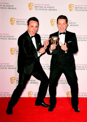 Anthony McPartlin (left) and Declan Donnelly with the Best Entertainment Programme Award for Ant and Dec?s Saturday Night Takeaway at the House of Fraser British Academy of Television Awards at the Theatre Royal, Drury Lane in London. PRESS ASSOCIATION Photo. Picture date: Sunday May 10, 2015. See PA story SHOWBIZ Bafta. Photo credit should read: Ian West/PA Wire
