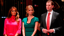 CLOSE FAMILY: Melania, Ivanka and Eric Trump at the town hall debate at Washington University, St Louis, Missouri in October 2016 (Photo by Pool/Getty Images)