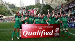 Ireland celebrate after winning the qualifiers final against Hong Kong on day three of the Cathay Pacific/HSBC Hong Kong Sevens at the Hong Kong Stadium back in April, 2019. (Photo by Hannah Peters/Getty Images)