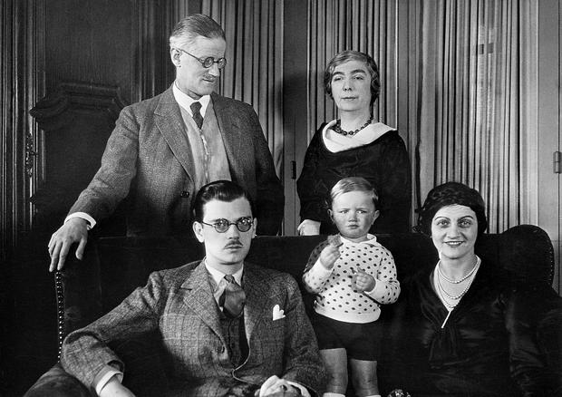 James Joyce and his wife Nora with their son Giorgio, daughter-in-law Helen and two-year-old grandson Stephen James Joyce in Paris in 1934. Photo: Bettmann Archive