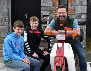 Ross, Darragh and Adrian Moriarty, Beaufort, participating in the Honda 50 Charity Run