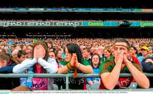 30 August 2015; Mayo supporters prepare for a penalty by Cillian O'Connor. GAA Football All-Ireland Senior Championship, Semi-Final, Dublin v Mayo, Croke Park, Dublin. Picture credit: Ramsey Cardy / SPORTSFILE