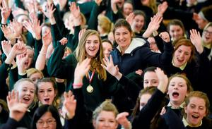 Sky Academy Ambassador Katie Taylor was in Ballinasloe, Co. Galway, to surprise Ardscoil Mhuire student Stephanie OHalloran live on Sky Sports News HQ and present her with the Sky Sports Living for Sport award for Republic of Ireland Student of the Year. Stephanie will now be up against the winners for England, Scotland, Wales and Northern Ireland and the Awards will be broadcast on Sky Sports 1 on Sunday 29 March 2015 at 7.30pm. Picture credit: Stephen McCarthy / SPORTSFILE