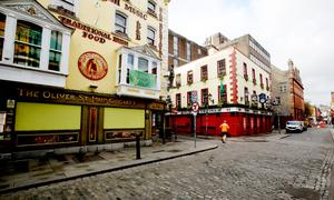The streets of Temple Bar were virtually deserted during the early stages of lockdown