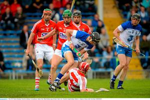 3 May 2015; Maurice Shanahan, Waterford, challenges Cork goalkeeper Anthony Nash. Allianz Hurling League, Division 1 Final, Cork v Waterford. Semple Stadium, Thurles, Co. Tipperary. Picture credit: Cody Glenn / SPORTSFILE