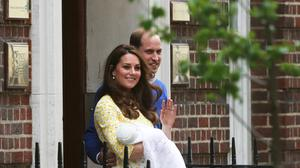 Britain's Prince William and his wife Catherine, Duchess of Cambridge, appear with their baby daughter outside the Lindo Wing of St Mary's Hospital, in London, Britain May 2, 2015. The Duchess of Cambridge, gave birth to a girl on Saturday, the couple's second child and a sister to one-year-old Prince George.  REUTERS/Neil Hall