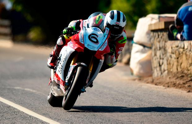 William Dunlop in a practice session at the Skerries 100 shortly before he died. He is the third member of the biking dynasty to die in crashes while racing. Photo: Barry Cregg/Sportsfile