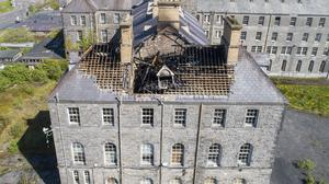 Aerial picture taken on Saturday morning which shows the extensive damage to the former school