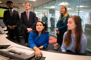 Climate : UK Home Secretary Priti Patel meets students and staff working on carbon capture at Imperial College London. Photo: Stefan Rousseau/PA