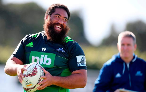 Charlie Faumuina of the Blues during a training session at Alexandra Park in Auckland, New Zealand. Photo by Stephen McCarthy/Sportsfile