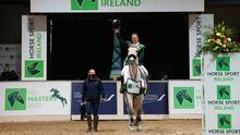 Shane Breen on Compelling Z after winning the Horse Sport Ireland Show Jumping Masters at Emerald International Equestrian Centre in Enfield, Kildare. Photo: Stephen McCarthy/Sportsfile