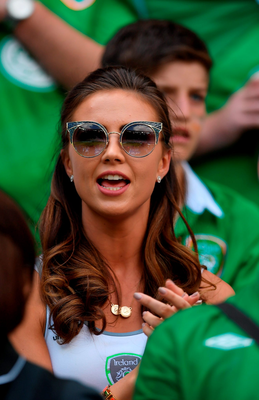 Robbie Brady's girlfriend Kerrie Harris watches from the stands. Photo: Sportsfile