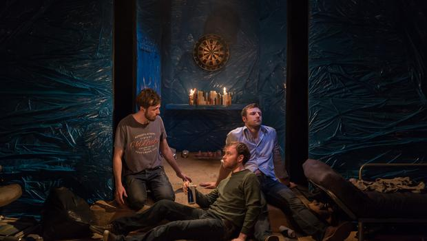 Rhys Dunlop (Pa), Colin Campbell (Barry) and Conor Madden (Cusack) in Flights at the Project Arts Theatre. Photo: Ste Murray