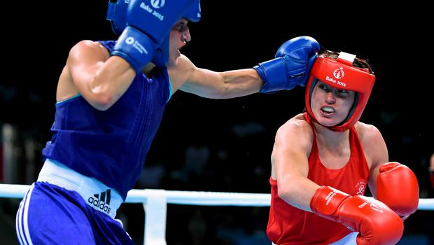 21 June 2015; Katie Taylor, Ireland, right, exchanges punches with Denitsa Eliseeva, Bulgaria, during their Women's Boxing Light 60kg Round of 16 bout. 2015 European Games, Crystal Hall, Baku, Azerbaijan. Picture credit: Stephen McCarthy / SPORTSFILE