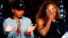Serena Williams of the United States reacts while being interviewed after her defeat in the Women's Singles finals match to Naomi Osaka of Japan on Day Thirteen of the 2018 US Open at the USTA Billie Jean King National Tennis Center on September 8, 2018 in the Flushing neighborhood of the Queens borough of New York City.  (Photo by Julian Finney/Getty Images)