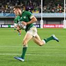 Ireland's Garry Ringrose, pictured scoring Ireland's fifth try in the Rugby World Cup 2019 Pool A win over Russia in Kobe. Photo: Reuters/Annegret Hilse