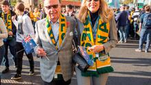 Handout photo issued by the Sun Newspaper of News Corp Executive Chairman Rupert Murdoch arriving with Jerry Hall at Twickenham in south west London to support Australia in the Rugby World Cup final. PRESS ASSOCIATION Photo. Picture date: Saturday October 31, 2015. Photo credit should read: Arthur Edwards/The Sun/PA Wire  NOTE TO EDITORS: This handout photo may only be used in for editorial reporting purposes for the contemporaneous illustration of events, things or the people in the image or facts mentioned in the caption. Reuse of the picture may require further permission from the copyright holder.
