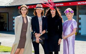 Ros Purcell (judge) Kay O'Connor from Tipperary, winner of Day 3 Gold Fever Best Dressed Andrea Roche and Caitriona Hanley (Judges)  at the Third day of the Punchestown Festival
