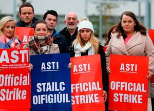 ASTI members on strike outside St Mary's College, Dundalk, last October. Photo: PA