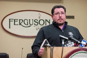 Ferguson Mayor James Knowles announces the resignation of Police Chief Thomas Jackson during a press conference in Ferguson, Missouri REUTERS/Kate Munsch
