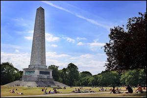 Sun worshippers at the Wellington Monument in the Phoenix Park. Photo by Steve Humphreys 28th May 2020