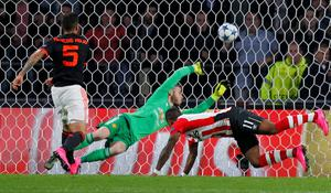 Luciano Narsingh scores PSV's second goal against Manchester United